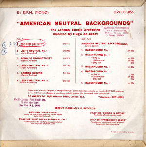 American Neutral Backgrounds No. 1 - Back cover art.