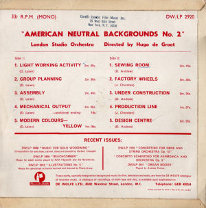 American Neutral Backgrounds No. 2 - Back cover art.