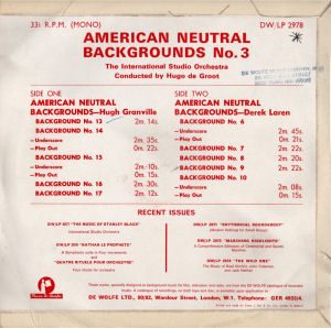 American Neutral Backgrounds No. 3 - Back cover art.