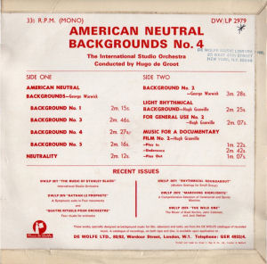 American Neutral Backgrounds No. 4 - Back cover art.