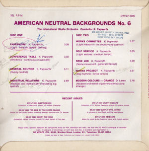 American Neutral Backgrounds No. 6 - Back cover art.