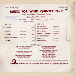Music For Wind Quintet No. 2 - Back cover art.